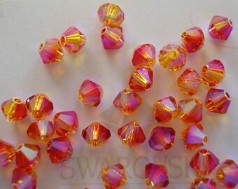 24 Fire Opal AB2X Swarovski Crystal Beads Bicone 5328 4mm