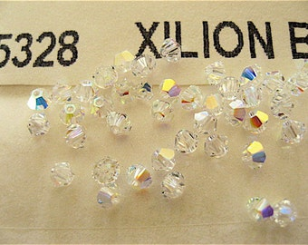 48 Clear Crystal AB Swarovski Crystal Beads Bicone 5328 3mm