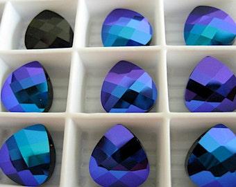6 Jet Glacier Blue Swarovski Crystals Pendants Briolette 6012 11mm