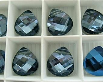 2 Crystal Montana Swarovski Pendants Briolette 6012 15mm