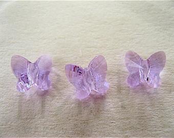 8 Violet Swarovski Crystal Butterfly Beads 5754 6mm