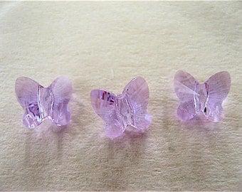 24 Violet Swarovski Crystal Butterfly Beads 5754 6mm