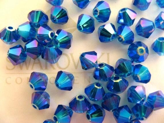 24 Capri AB2X Swarovski Crystal Beads Bicone 5328 4mm