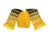 Marigold Yellow Gray Gradient Chunky Wool Scarf