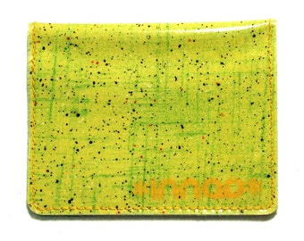 Green Yellow Paint Splatter Sketch Cotton / Vinyl Wallet