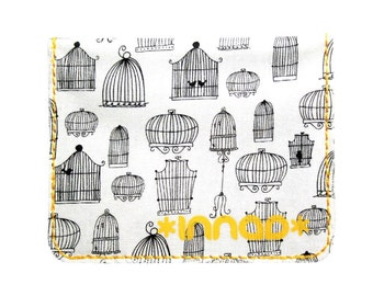 Black White Retro Bird Cages Cotton / Vinyl Wallet