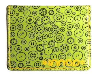 Green Buttons Cotton / Vinyl Wallet