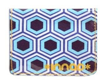 Blue White Plum Honeycomb Cotton / Vinyl Wallet