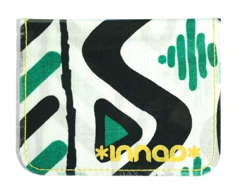 Kelly Green Black White Abstract 80s Print Cotton / Vinyl Wallet