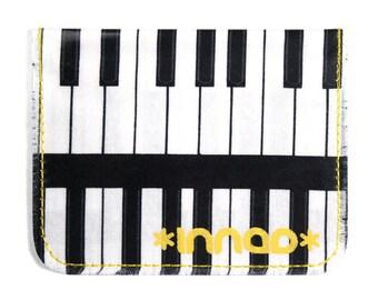 Black White Piano Keyboard Cotton / Vinyl Wallet