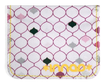 Purple Lilac Grey Black Ogee Cotton / Vinyl Wallet