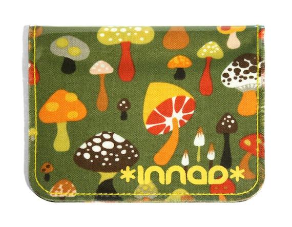 Olive Green Orange Brown Retro Mushroom Cotton / Vinyl Wallet