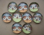 Owl eyes glass marble magnets
