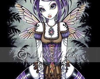 Gothic Dragonfly Water Fairy Art Signed Print Addison by Myka Jelina