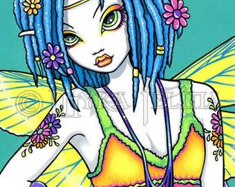 Rainbow Hippie Fairy Canvas Art OOAK ACEO Harmony CU Embellished