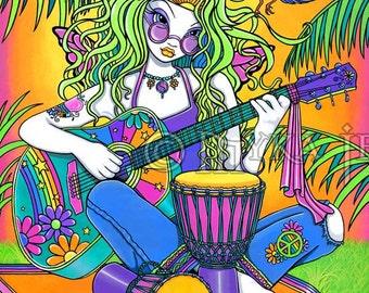 Rainbow Musical Hippie Guitar Melody Fairy Art Print