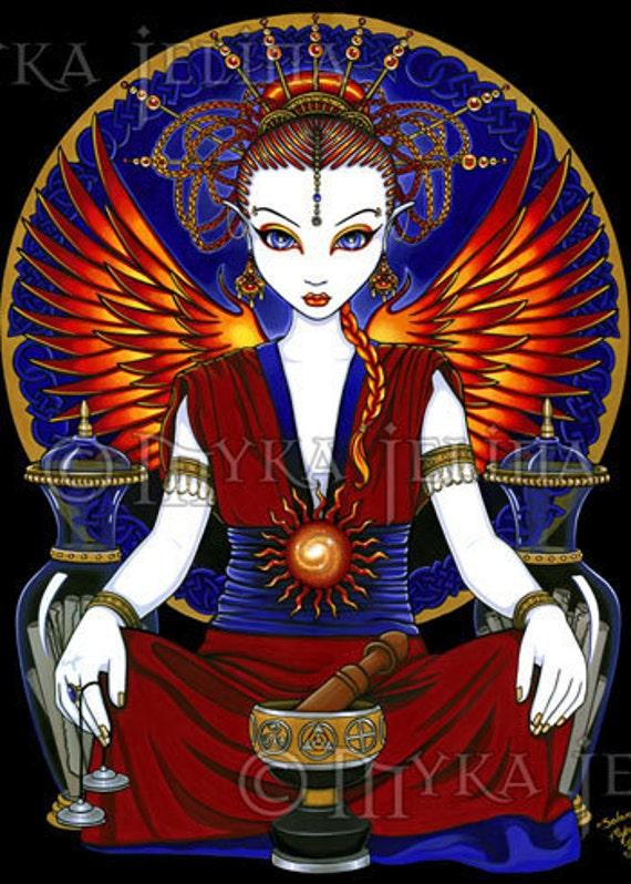 Sun Goddess Fire Fairy Art OOAK ACEO Solara