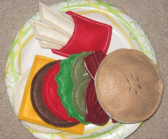 Felt Playfood Burger with Fries Pattern Set - Machine Embroidery Designs