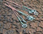 Verdigris Copper Headpins, Handmade, Spiral, 10 ct