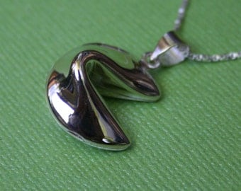 Sterling Fortune Cookie Locket Necklace
