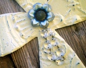 Wall Cross Ceiling Tin Vintage Metal Flower Blue Ivory Crystals