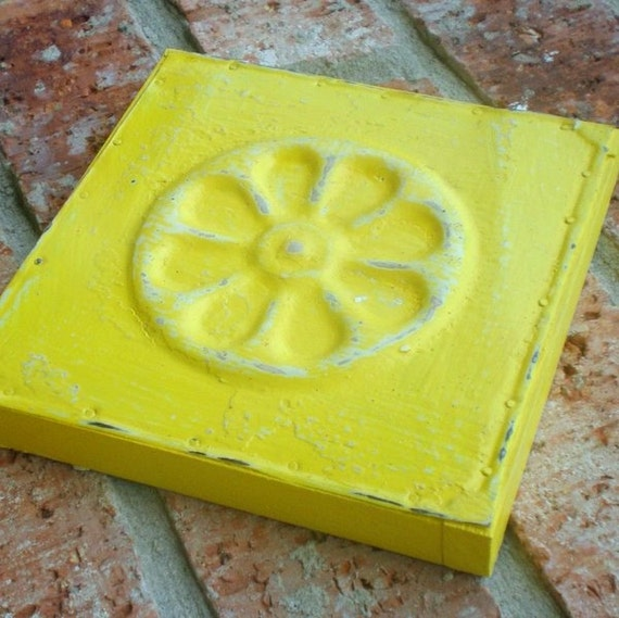 Lemon Yellow Wall Plaque from Vintage Ceiling Tin