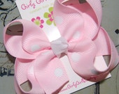 Pink polka dot 'go to' boutique style loopy hair bow