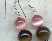 Brown and Pink Cat Eye Fiber Optic Sterling Silver Earrings
