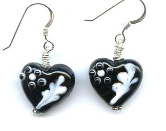 Black Hearts Sterling Silver Earrings
