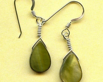 Olive Shell Teardrop Sterling Silver Earrings