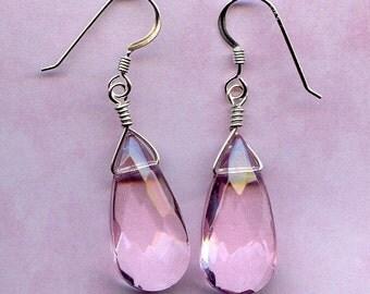 Pink  Glass Teardrops Sterling Silver Earrings