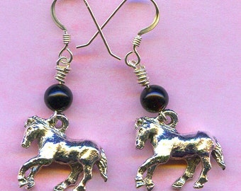 Horse Earrings Sterling Silver