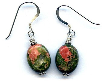 Unakite Sterling Silver Earrings