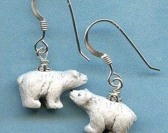 Polar Bear Sterling Silver Earrings