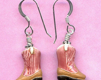 Pink Cowgirl Boots Sterling Silver Earrings