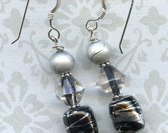 Black Beauty Sterling Silver Earrings