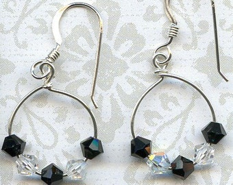 Black and White Sterling Silver Earrings