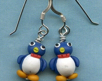 Blue Baby Penguins Sterling Silver Earrings.