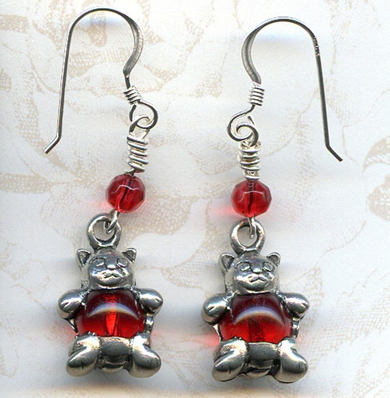 Belly Baby Kitties Sterling Silver Earrings