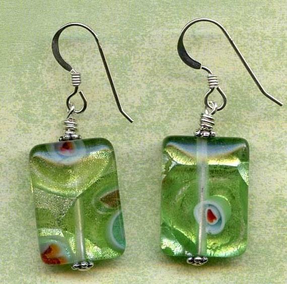 Green Millefiori Foil Sterling Silver Earrings