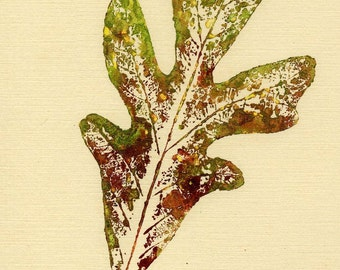 Autumn Oak is an artist pulled nature leaf print in browns and greens