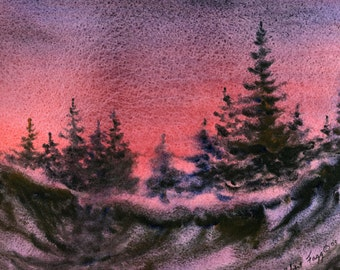 Twilight Pines is an original watercolor painting by Robert Fagg