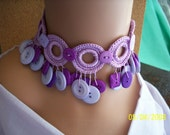 Extremely Lavender Button Necklace