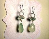 Sterling Silver Spring Green Chalcedony Briolette Earrings