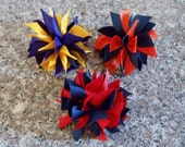 Medium Pom Pom Hair Bow Spikey Ponytail Holder--Custom Made in YOUR COLOR CHOICES
