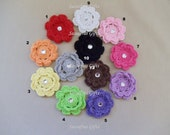50% OFF--Set of 6 Mini Crochet Flower Hair Clip--Headband Clip--10 Colors Available--Your CHOICE of Colors