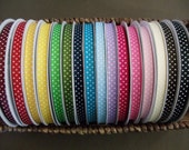 """NEW COLORS--3/8"""" Grosgrain Ribbon w/ Swiss Dots--5 yards--40 Colors to Choose from--You Choose Color"""