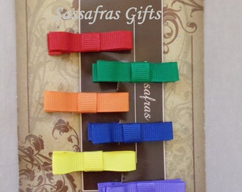 Bow Tie Clippies--Clippie Sets--Rainbow Set of 6