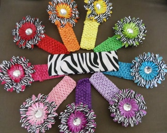 50% OFF--Zebra Gerbera Daisy Flower Hair Clips--Your Choice of Color