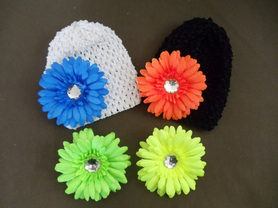 NEON Gerbera Daisy Flower Hair Clips--Set of 4--plus FREE Waffle Beanie/Hat--Choice of Color